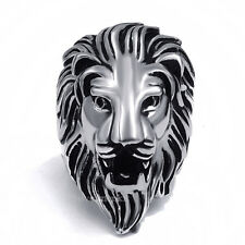 Mens Silver Lion King Band Stainless Steel Biker Ring  Jewelry Size 7-14