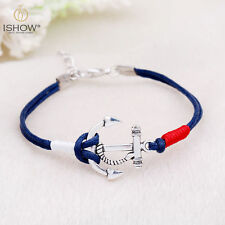 CharmWomen Multilayer Leather Handmade Cuff Wristband Anchor Bracelet Bangle Hot