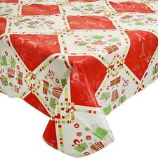 Christmas Tablecloth Vinyl Flannel back Holiday Pattern Table Cover 70 Round