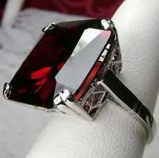 20ct Huge *Red Garnet* Sterling Silver Vintage Design Filigree Ring Size Any/MTO