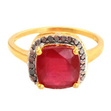 5.00 Carat Ruby Genuine Gemstone Red Diamond Ring In 9kt Yellow Gold Jewelry