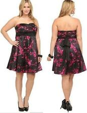 20 or 24 new BLACK/PINK cherry BLOSSOM party cocktail SATIN cruise Torrid Dress