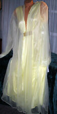 Yellow Nightgown Robe Set 1X 2X 3X 4X Nylon Chiffon 2 piece Semi Sheer