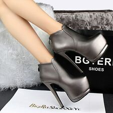 Fashion Platform High Heels PU Suede Pumps Zip Sexy Club Ankle Boots Women Shoes