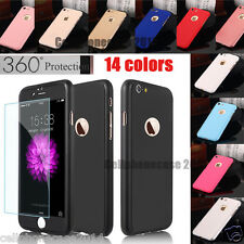 iPhone 6S 7 Plus Ultra-Thin Shockproof Hard Case Cover Tempered Glass For Apple