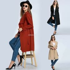 Women New Wide Lapel Europe Trench Coat Jacket Long Sleeve Wool Blend Slim Belt