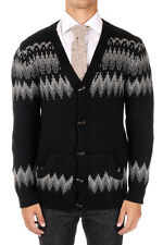 SAHAJA New Men BLACK  Knitted Cardigan Cashmere sweater  Made in USA NWT