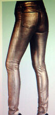 J BRAND Super Skinny MID RISE Pants COATED BRONZE METALLIC DENIM JEANS  size  25