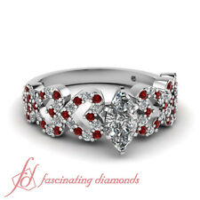 .80 Ct Marquise Cut Diamond & Ruby Pave Set Heart Style 14K Gold Engagement Ring