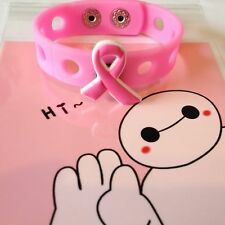 Breast Cancer Awareness Pink Wristband Bracelet with Ribbon Charm