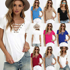 Fashion Womens Loose Pullover T Shirt Short Sleeve Cotton Tops Shirt Blouse New