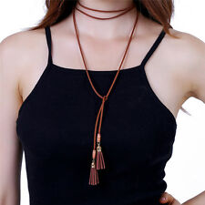 Gothic Faux Suede Cord Around String Wrap Tassels Choker Bolo Tie Necklace