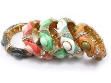 Fashion Gold Plated Alloy Colorful Enamel Rhinestone Cuff Bangle Size Adjustable