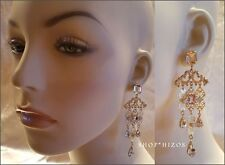 "GOLD CRYSTAL BOHEMIAN CHANDELIER 3"" DANGLE TEAR DROP FILIGREE EARRINGS NEW"