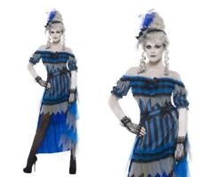 Ghostly Saloon Girl Costume Halloween Ghost Fancy Dress Outfit S-L
