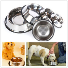 Non Slip Stainless Steel Cat Puppy Dog Pet Bowl Dish Water Food Feeding 5 Sizes