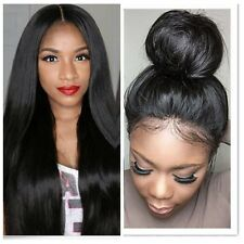 Remy Silk Straight 100% Indian Human Hair Baby Hair Lace Front /Full Lace Wig