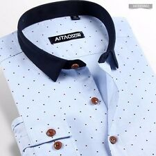 Mens Chic Long sleeve Polka Dot Slim Fitted Business Casual Dress shirt 7 Colors