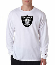 Oakland Raiders Champion LONG SLEEVE T-Shirt Tagless T Shirt Mens Adult Tee