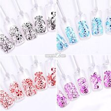 4 Colors 108PCS 3D Nail Art Stickers Blue Red Black Rose Red Flowers Design