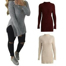 Womens Knitted Split Long Sleeves Pullover Knitwear Sweater Top Sexy Casual F2S7