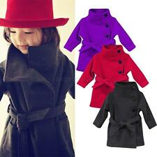 Pretty Kids Girls Winter Clothes Fleece Outerwear Long Trench Wind Coat Jacket