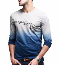 Fashion Mens Casual Slim Long Sleeves Round Neck T-Shirt Basic Tee  M L XL XXL
