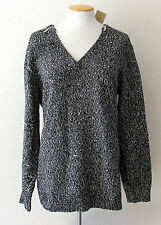 NWT Michael Kors WomensBlack/White Marled Thick Knit Sweater Shoulder Zipper XL