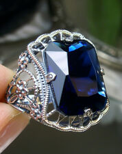 9ct*Sapphire*Victorian Floral Sterling Silver Filigree Ring Size {Made to Order}