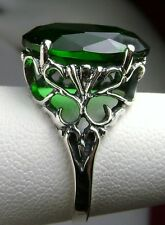 8ct Oval *Emerald* Sterling Silver Vintage Style Filigree Ring Size: MTO/Custom