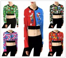 Sexy Womens Christmas Printed Zipper Tops Pullover Sweatshirt Jumper Blouses