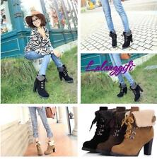 Women High Heels Ankle Boots Lace up Snow Martin Boots Platform Pumps Shoes LG