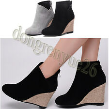 Fashion Women's Wedge Heels Short Boots Faux Suede Ankle Boots Size 34-39