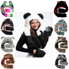 Winter Hood Animal Faux Fur Hat Scarf With Mittens Gloves Pocket Paw Print CA