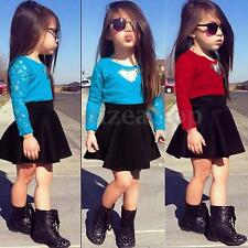 UK Kids Baby Girls Party Skirts Dress Lace Tops T-shirt Clothes 2Pcs Set Outfits