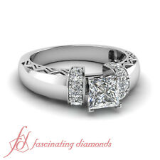 1.15 Ct Princess Cut Diamond Zigzag Design Engagement Ring 14K VS1 GIA Certified