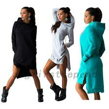Sporty Women's Hooded Dress Jumper Hoodie Sweats Pullover Pockets Track Outwear