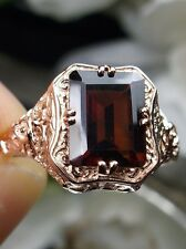 2.4ct Red Garnet Sterling Silver & Rose Gold Floral Filigree Ring Size {Any/MTO}