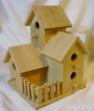 Unfinished Wood 3 Room Multi-Story Birdhouse With Fenced Yard