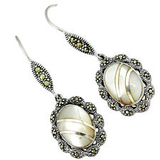 NATURAL WHITE PEARL MARCASITE 925 STERLING SILVER DANGLE EARRINGS JEWELRY A23171