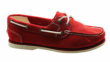 Timberland Classic 2 Eye Womens Boat Shoe Red Nubuck Leather Lace Up 3940R U35
