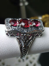 *Red Ruby* Solid Sterling Silver Edwardian/Victorian Filigree Ring Size {Choose}