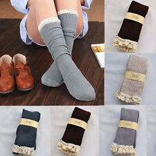 Boot Cuffs Socks Women Crochet Lace Cotton Knit Footed Leg Knee High Stockings