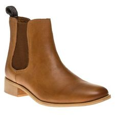 New Womens Ravel Tan Camden Leather Boots Ankle Elasticated Pull On