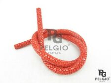 PELGIO Real Genuine Polished Stingray Skin Leather Bracelet Necklace Cord Red