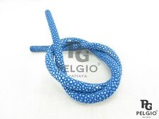 PELGIO Real Genuine Polished Stingray Skin Leather Bracelet Necklace Cord Blue