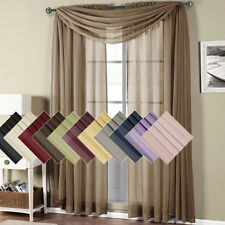 """Abri Rod Pocket Crushed Sheer polyester Curtain 50x96"""" Panel (Single) OR Scarf"""