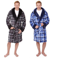 Pierre Roche Mens Hooded Checked Fleece Dressing Gown