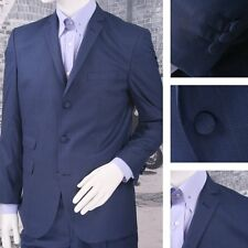 Get Up Mod Retro Single Breasted Slim Fit Prince of Wales Suit Blue