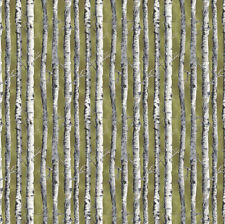 Northwoods Fabric Birch Trees Green by Kathy Hall for Andover Premium Cotton